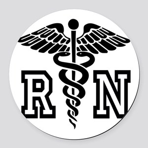 RN Nurse Caduceus Round Car Magnet