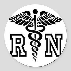 RN Nurse Caduceus Round Car Magnet