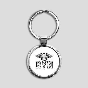 RN Nurse Caduceus Keychains