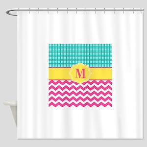 Pink Teal Chevron Monogram Shower Curtain