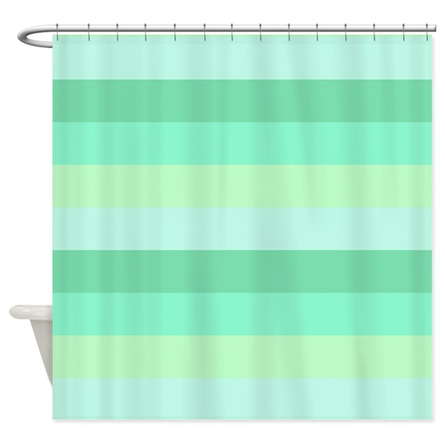 Mint Green Striped Shower Curtain By CrazyShowerCurtains