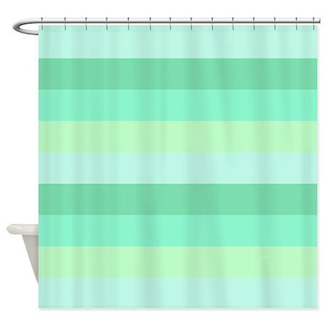 Mint Green Striped Shower Curtain