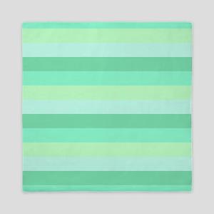 Mint Green Striped Queen Duvet