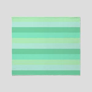 Mint Green Striped Throw Blanket