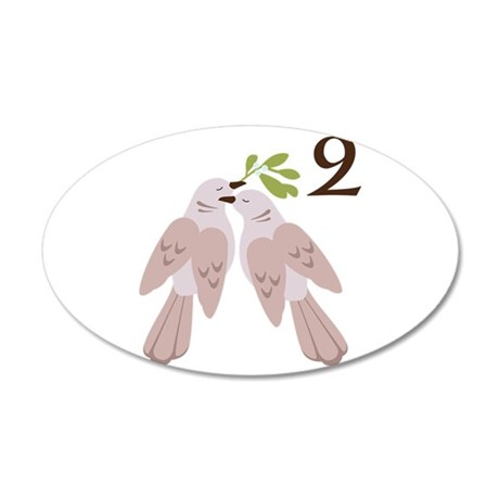 2 Peace Symbol Dove Bird Olive Branch Wall Decal