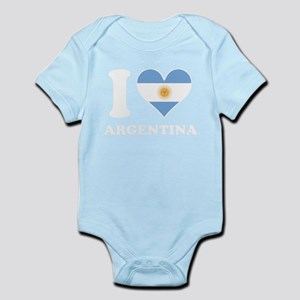 I Love Argentina Argentinian Flag Heart Body Suit