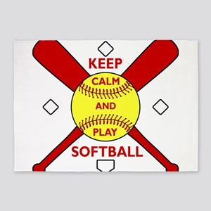 Keep Calm and Play Softball Original 5'x7'Area Rug