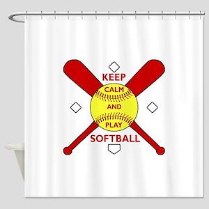 Keep Calm and Play Softball Original Shower Curtai