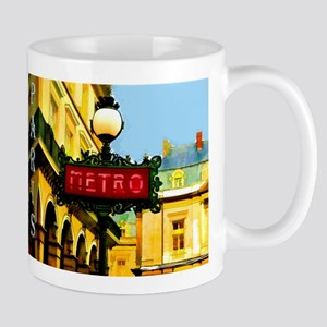 pARIS mETRO tRAVEL pOSTER Mugs