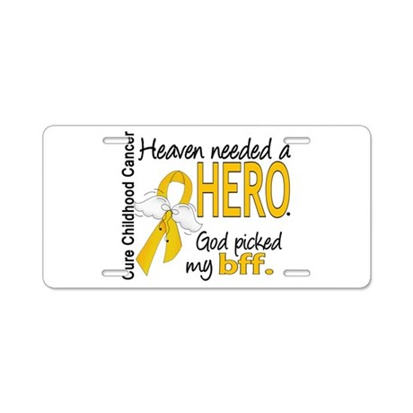 childhood cancer heavenneed aluminum license plate by goldribbon01