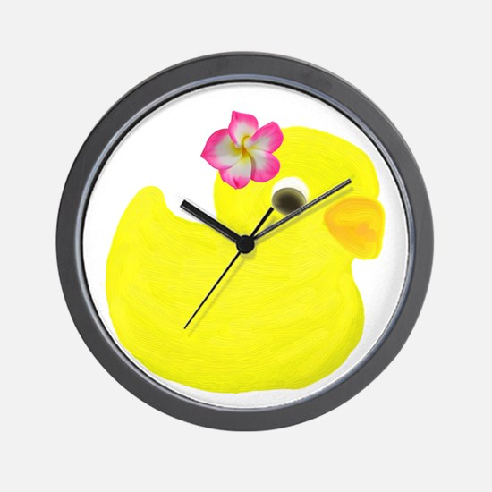 Duck with a Flower in Hair Wall Clock