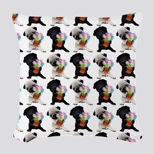 Black and Fawn Spring Pugs Woven Throw Pillow
