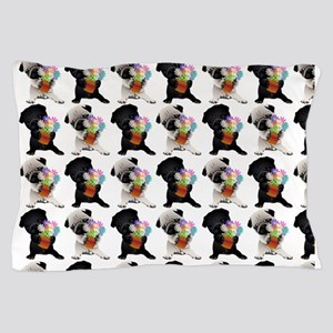 Black and Fawn Spring Pugs Pillow Case