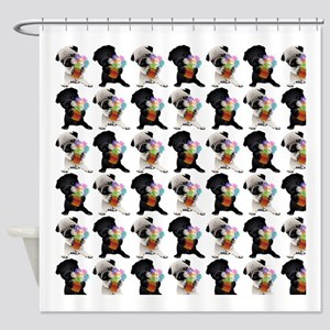 Black and Fawn Spring Pugs Shower Curtain