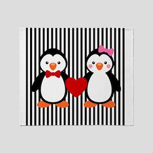 Penguin Couple on Black and White Stripes Throw Bl