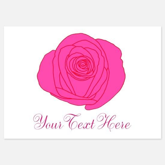 Pesonalizable Pink Rose Invitations