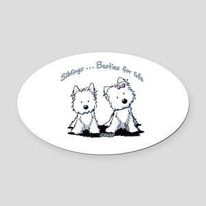 Westie Siblings Oval Car Magnet