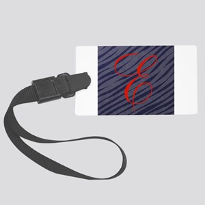 Red E Initial on Grey Zebra Stripes Luggage Tag