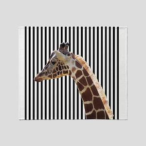 Giraffe on Black and White Stripes Throw Blanket