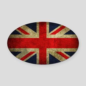 Vintage Grunge Union Jack UK Flag Oval Car Magnet