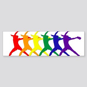 Fastpitch Pitcher Rainbow Bevel Bumper Sticker