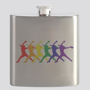 Fastpitch Pitcher Rainbow Bevel Flask