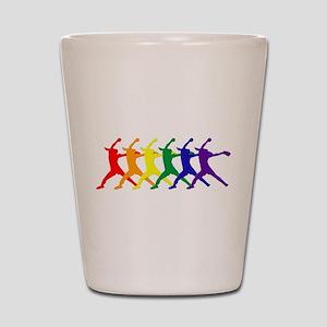 Fastpitch Pitcher Rainbow Bevel Shot Glass