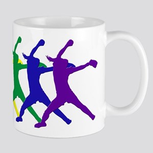 Fastpitch Pitcher Rainbow Bevel Mugs
