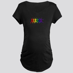 Fastpitch Pitcher Rainbow Bevel Maternity T-Shirt