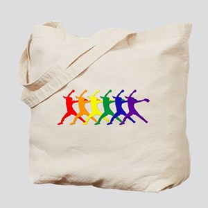 Fastpitch Pitcher Rainbow Bevel Tote Bag