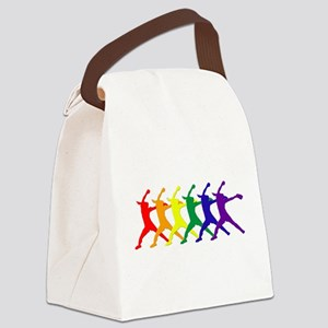 Fastpitch Pitcher Rainbow Bevel Canvas Lunch Bag
