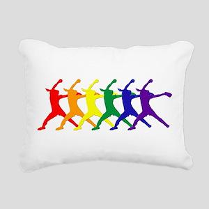 Fastpitch Pitcher Rainbow Bevel Rectangular Canvas