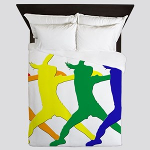 Fastpitch Pitcher Rainbow Bevel Queen Duvet
