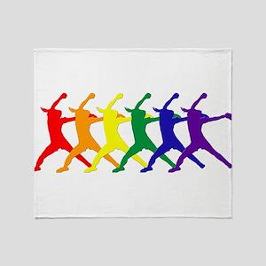 Fastpitch Pitcher Rainbow Bevel Throw Blanket
