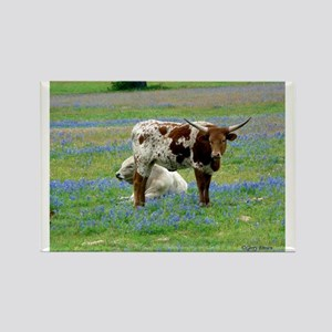 Longhorn in the bluebonnets Rectangle Magnet