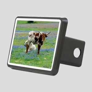 Longhorn in the bluebonnet Rectangular Hitch Cover