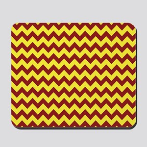 Maroon and Gold Chevron Mousepad