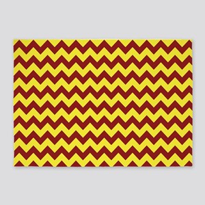 Maroon and Gold Chevron 5'x7'Area Rug