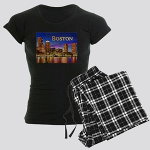 Boston Harbor at Night text BOSTON copy Pajamas