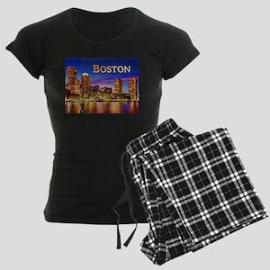 Boston Harbor at Night text BOSTON copy Pajamas