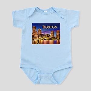 Boston Harbor at Night text BOSTON copy Body Suit