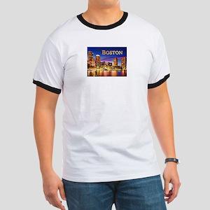 Boston Harbor at Night text BOSTON copy T-Shirt