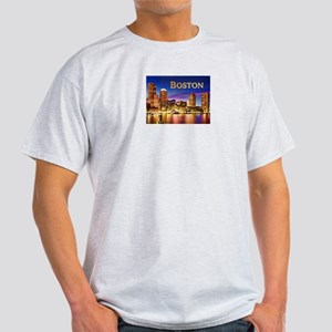 Boston Harbor at Night text BOSTON copy T-Shirt