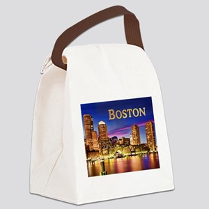 Boston Harbor at Night text BOSTON copy Canvas Lun