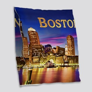 Boston Harbor at Night text BOSTON copy Burlap Thr