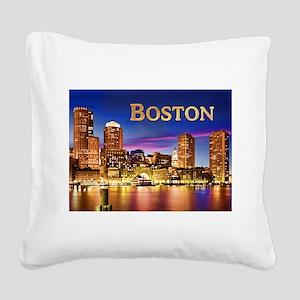 Boston Harbor at Night text BOSTON copy Square Can