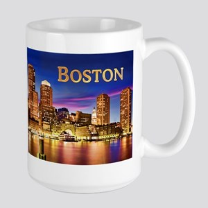 Boston Harbor at Night text BOSTON copy Mugs