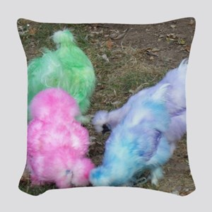 Tie Dyed Silkie Chickens in Pa Woven Throw Pillow