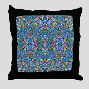 Colorful Abstract Psychedelic Symmetr Throw Pillow