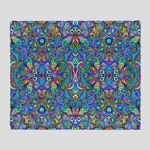 Colorful Abstract Psychedelic Symmet Throw Blanket